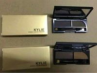 Wholesale Newest Kylie double color make up eyebrow enhancers Waterproof shadow eyebrow powder Palette With Brush kylie eyebrow powder