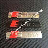 Audi audi stick - Factory Sale Sline S Line Metal Chrome Matt silver Black Stick Emblem D Car AUTO Rear Badge