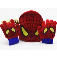 Wholesale Boys Girl Minions Spider man Knitted Crochet Beanies Cap Hats Sets New Children Baby Cartoon Kids Winter Warm Gloves Years Gifts PX H08