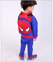Wholesale 2017 Hot Sale Fashion Handsome Leisure Children Spiderman Piece Cotton Padded Clothes Prussian Blue Or Black Hooded zss49