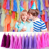 Wholesale Hot Sale DIY Colored inch cm Tissue Tassel Garland Paper Banner Party Supplies kits Wedding Bunting Decor bag