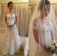 beautiful dresses uk - Beautiful Discount Plus Size Wedding Dresses Online Uk Sheer Neck Short Sleeve A Line Lace Appliques Court Train Tulle Bridal Gowns