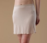 Wholesale On sale thin soft silk slips white black bude color knit half slip underskirt comfortable underdress
