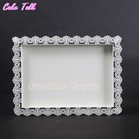 Wholesale White iron cake tray metal stand for wedding dessert lace edge plate cm cake decorating tools for lollipop gold tray