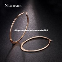 boucles d'oreille en gros achat en gros de-Dhgate Rose Gold Color Huge Oval Hoop Boucles d'oreilles Basket Ball Wives Earring Jewelry pour la fête de la Saint-Valentin