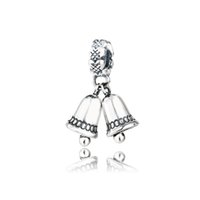 al por mayor campanas de plata pandora-Auténtica 925 cuentas de plata esterlina Fit pulseras Pandora encanto Navidad Bell cuelga estilo europeo Diy joyas