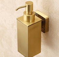 Wholesale New Wall Mount Bathroom Solid Brass Soap Dispenser Square Shape Liquid Soap Box LLFA