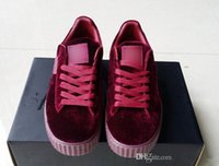 Women Genuine Leather PVC Velvet Rihanna Creepers Rihanna Shoes x Suede Creeper Men Women Running Shoes Fashion Rihanna Shoes sneakers,Send With Box And Dust Bags