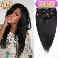 Wholesale Full Head Clip in Human Hair Extensions Natural Black Hair Clip Pieces Straight Brazilian Hair Clip in Extensions Bella Hair