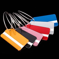 Wholesale 50pcs Aluminum Alloy Travel accessories Baggage tags Luggage Label Suitcase Name ID Address card