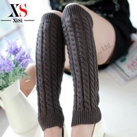 Wholesale Brand New Crochet Legwarmers Solid Thigh High Leg Warmers Knit Boot Cuffs Leg Gaiter cm Pink