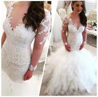Cheap 2017 Cascading Ruffles Wedding Dresses Arabic V Neck Long Sleeves Lace Appliques Beaded Elegant Backless Vestios De Novia Bridal Gowns