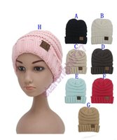 Unisex Spring / Autumn Crochet Hats Winter Knitted Woolen CC Trendy kid Hat Label Fedora Luxury Cable Slouchy kid Hats Fashion Beanies Thick Warm Hat Outdoors