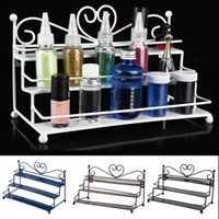 Wholesale High Quality Coffee Color Tier Nail Polish Display Rack Stand Organizer Holder With Metal Heart Design