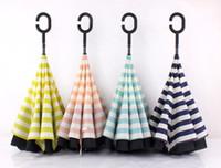 Wholesale Navy Stripe Inverted Umbrellas C shape J shape Handle Waterproof Double Layer Reverse Car Umbrella Paraguas Rain Umbrella colors OOA909