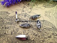 Charms Charms Yes Wholesale- 20pcs Dinghy Charm Dingey Charms Small Boat Charm 8mm x 22mm Tibetan Silver Water Sports Nautical Jewelry Bracelet Necklace