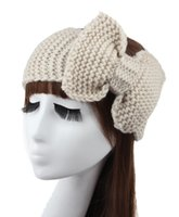 Wholesale New Cotton Crochet Bow Headband Turbante Ear Warmer Winter Women Turban Head Wrap Hair Accessories Colors