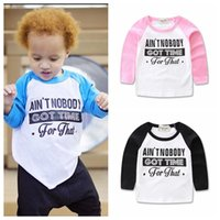 Wholesale Baby Ins T Shirts Girls Fashion Letter Shirts Infant Summer Cotton Tops Toddler Long Sleeve T Shirts Baby Spring Print Casual Clothes D438