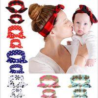 Wholesale 1 Set Mom Baby Rabbit Ears band Tie Bow elastic Headband Hair Hoop Stretch Knot Bow Cotton Headbands hair accessories