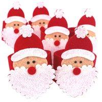 achat en gros de zéro anneaux-Grossiste-Zéro 6pcs Noël Père Noël Serviette Anneaux Serviette Porte Serviette Noël