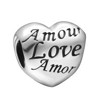 amore bracelets - bead exclusive WYBEADS Sterling Silver Charms Amore Love Heart European Charm For Snake Chain Bracelet Bangle Original Jewelry Making
