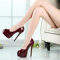 Wholesale 6 in High Heels Sexy Shoes US Size Platform PU Peep Toe Stiletto Heel Pumps Party Shoes NO
