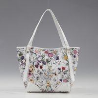 best fashion label - White flora print top private label multi color floral bags best seller summer women tote bag at lowest price