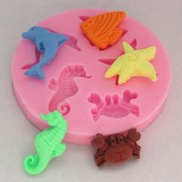 Wholesale Charming Five Kinds Sea Aminal Shape Fondant Cake Mmold Silicone Cookie Cutter Cookie Cake Décor Chocolate Mold Pastry Mould