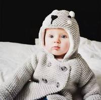 Wholesale Sweet Kids Knit Hooded Coat Winter Fleece Lining Outerwear Baby Girls Winter Warm Coats INS Hots Gray Cotton Coats