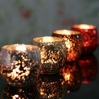 Wholesale Unique fashion zakka mosaic bowl glass candle holder wedding party candle stand decoration colorful KM9009