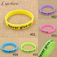 bars giving - New Glow In Dark Silicone Rubber Never Give Up Sport Wristband Cuff Bracelet