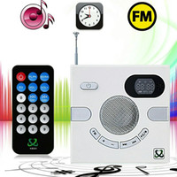 Wholesale Hot sale Portable Wall Speaker Switch Design AUX Multi functional Stereo With FM TF Card U Disk Time Display MP3 PLAYER Rated based o