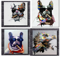 animals eagles - 4pcs Cartoon Cool Smoking Dog and Eagle High Quality genuine Hand Painted Wall Decor Abstract Animal Art Oil Painting On Canvas ali TOPE