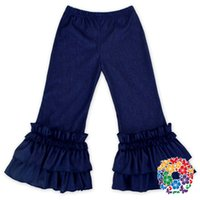 Wholesale 2017 New Kids Girls Ruffle Jeans Baby Cotton Blue Color Pants Children Clothing