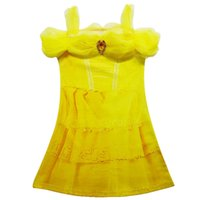 Knee-Length bella girls clothing - Bella Cosplay Costume Girls Princess TUTU Dresses Yellow Baby Girl Dress Beauty And The Beast Wohlesale Children Clothes