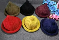 Wholesale Autumn and winter children wool cap edge nipple knitted cap edge sharp pointed hat Mohair Wizard Hat