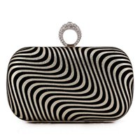 Wholesale Black and White Stripe Bag Female Box Clutch Women Fashion Handbag with Chain Removable Delicate Charms Nice Shoulder Bags