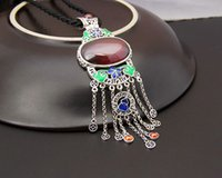 Celtic atmosphere sweater - 925 Sterling Silver Jewelry Silver Garnet Pendant Cloisonne tassel sweater chain pendant new atmosphere of and retai