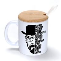 bamboo bad - Breaking Bad Mug Coffee Milk Ceramic Cup Creative DIY Gifts Mugs oz With Bamboo cover lid Spoon S187