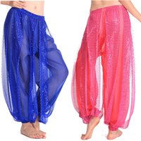 belly dancing professional costumes - Adult Woman Bollywood Shining Sequin Belly Dancing Dance Pant Tribal Belly Dance Costumes Professional India Bellydance Egypt Pant Clothes