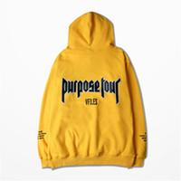Wholesale Autumn Hoodies Justin Bieber fear of god Purpose Tour Yellow Men Woman Warm Fleece Hoodies Hooded Sweatshirt XL