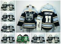 Wholesale Hockey Hoodies Los Angeles Kings Signature Signed Jersey Anze Kopitar Dustin Brown Jonathan Quick Wayne Gretzky Men Mixed Sale