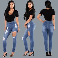 Washed best seller jeans - 2017 European Fashion Holes Close Show Thin And Small Foot Jeans Ma am Trousers Best Sellers The new Arrivals listing Hot