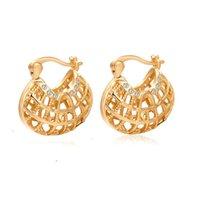 Acheter Out jaune-Design Classique Or Jaune Plaqué Or Tone Hollow Out Boucles d'oreilles en cristal Boucles d'oreilles de mariage pour femmes