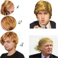 Wholesale New Hot Cosplay Wigs Men Wig President Donald Straight Wig Short Wig Golden Wig Hair