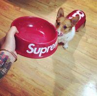 Wholesale Fashion Supreme Dog Bowl General Ceramics Pet Dog Cat Bowl Red Black Color Feeding Water Food