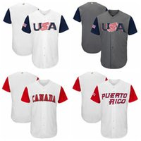 Wholesale USA Baseball Majestic World Cup Baseball Classic Team Jersey Men Baseball Jersey Puerto Rico Mexico Italy All Teams