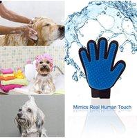 По уходу за шерстью принадлежности Цены-2017Новый продукт Силиконовый чехол True Touch перчатки Deshedding Нежный Эффективный уход за животными Собаки Ванна Pet Supplies Blue