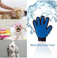 Wholesale 2017New Product Silicone True Touch Glove Deshedding Gentle Efficient Pet Grooming Dogs Bath Pet Supplies Blue