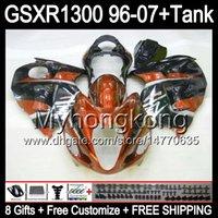 8gift Pour brillant orange SUZUKI Hayabusa GSXR1300 96 97 98 99 00 01 13MY20 GSXR 1300 GSX-R1300 GSX R1300 02 03 04 05 06 07 TOP noir Carénage